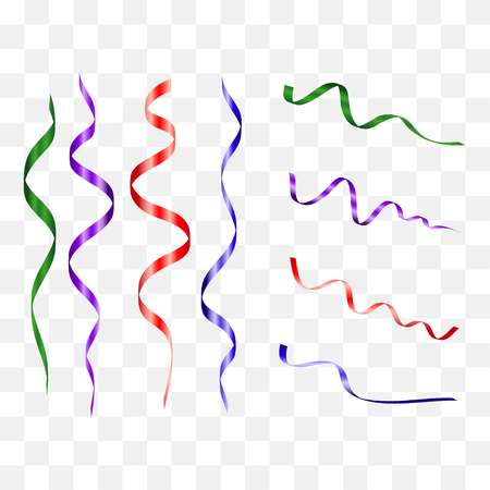 Colorful streamers set. Color curly confetti ribbon. Festive holiday decoration. Vector illustration.