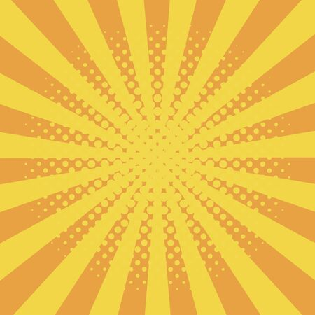 Comic background with halftone effect and sunburst. Comic book elements with dots and sunray. Yellow starburst abstract backdrop. Vector illustration. Ilustração