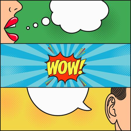 Design of comic book page. Dialog of girl and guy with speech bubble with emotions - WOW. Woman lips and mans ear. Cartoon sketch in pop art style. Vector illustration.