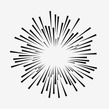 Comic explosion effect. Radial moving lines. Sunburst element. Sun rays. Vector illustration. Illusztráció