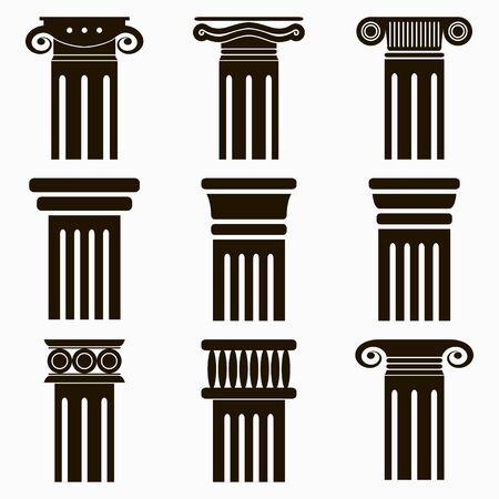 Column icons. Set of ancient architecture pillars. Vector illustration. Illusztráció