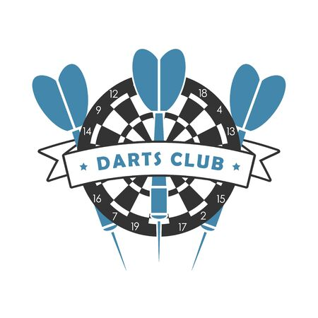 Darts club logo. Template for sport emblem with dart, dartboard and ribbon. Vector illustration.