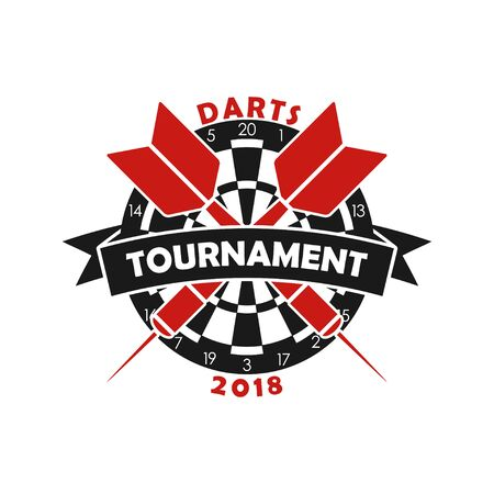 Darts tournament logo. Template for sport championship emblem with dart, dartboard and ribbon. Vector illustration.
