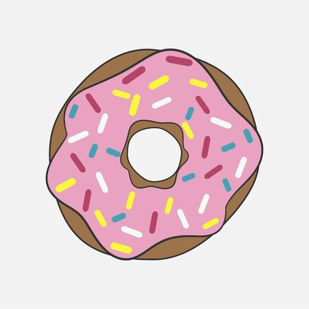 Donut with pink glaze. Tasty cake with decorative colored sprinkles. Vector illustration. Ilustração