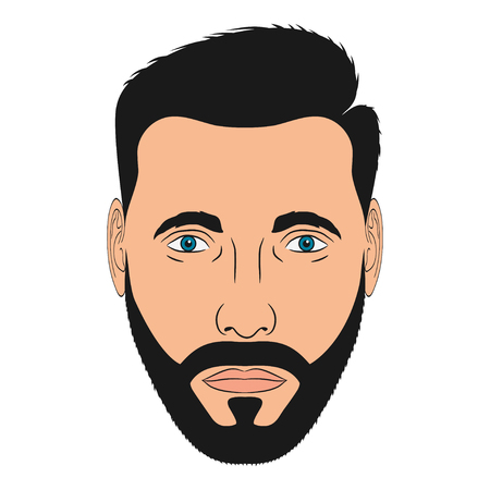 Face of man with beard. Male head in cartoon style. Vector illustration.