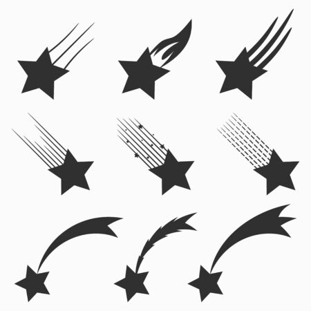 Falling stars vector icons set. Shooting meteorites and comets with tails. Vector illustration.