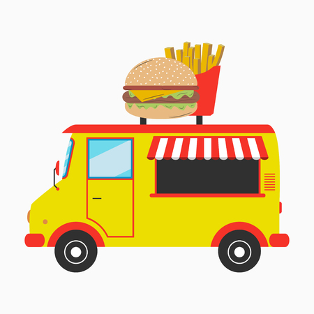 Food truck. Fast food van with signboard in form of burger and french fries. Vector illustration in flat style.
