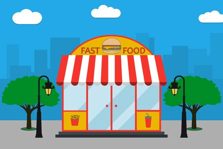 Fast Food building facade with signboard with burger, french fries, soda cup, street lamps, trees. Bistro at city landscape background. Vector illustration in flat style.