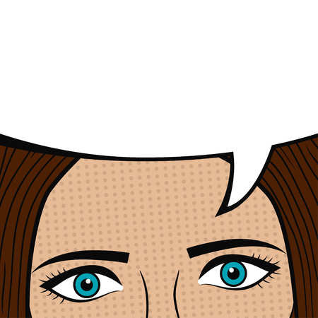 Girl face with blank speech bubble for text. Woman eyes. Design of comic book page. Cartoon sketch in pop art style. Vector illustration.