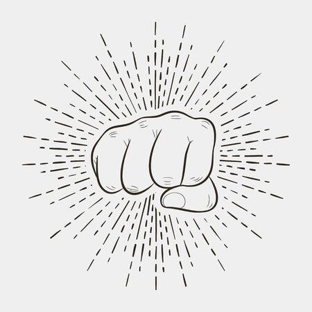 Pięść z sunburst, ludzką ręką w stylu vintage z promieniami słońca retro. Projekt logo sportowego. Ilustracja wektorowa.