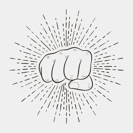 Pugno con sunburst, mano umana in stile vintage con raggi di sole retrò. Design per logo sportivo. Illustrazione vettoriale.