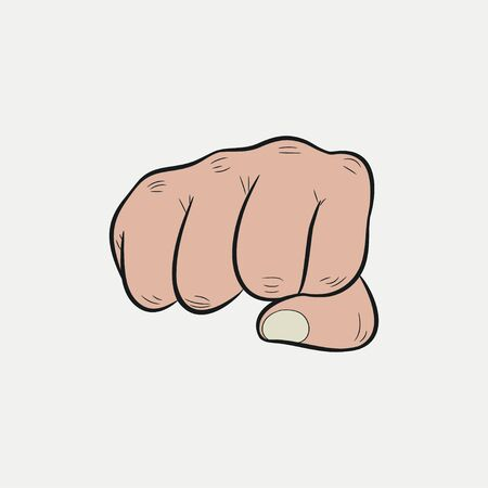 Fist. Clenched fingers pointing forward, punch. Vector illustration.