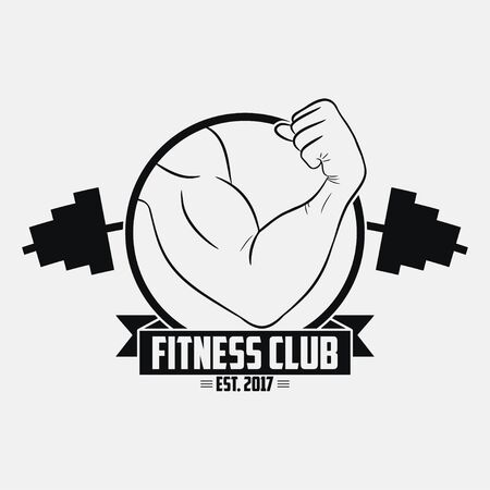 Fitness club. GYM logo with muscular hand and barbell . Typography graphic for t-shirt, design of sport apparel, clothes. Bodybuilding label. Vector illustration. 写真素材 - 129415103