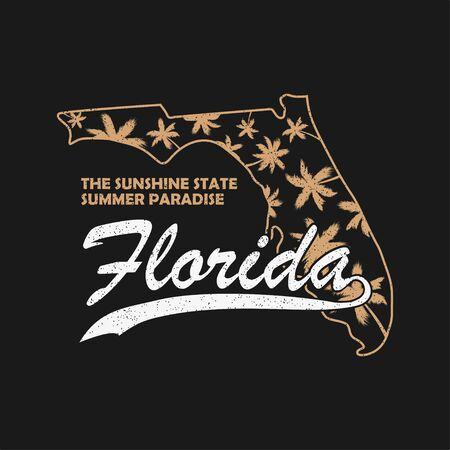 Florida state typography graphics for t-shirt, clothes. Grunge print for apparel with palm trees and map. Vector illustration.