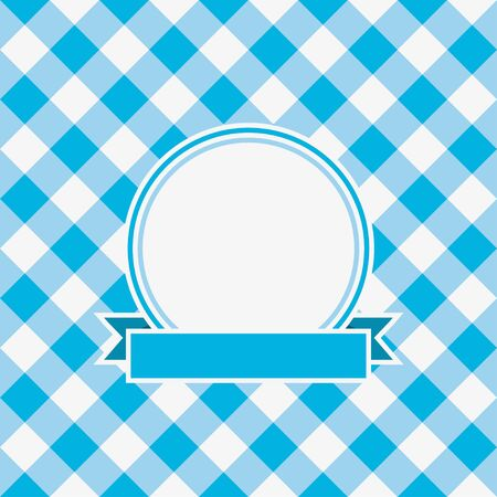 Gingham invitation card template with frame and ribbon. Vector illustration. 矢量图片