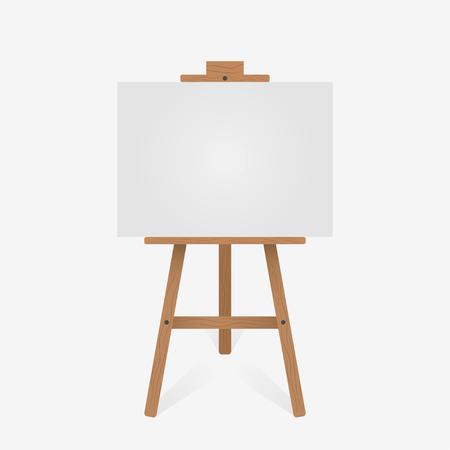 Caballete de madera con lienzo en blanco. Ilustración vectorial. Ilustración de vector