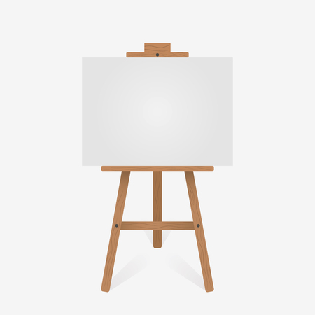 Wooden easel with blank white canvas. Vector illustration.