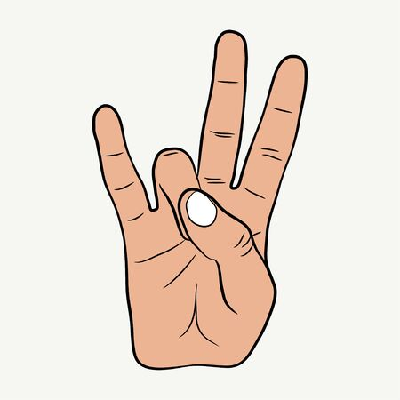 Gesto de la mano de hip-hop. Signo de rap de la costa este. Ilustración de vector.