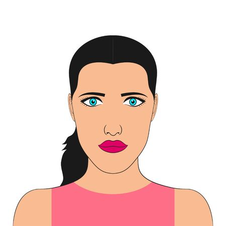 Portrait of a woman. Face of girl. Female avatar. Vector illustration.