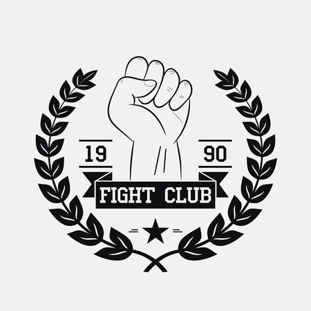 Fight Club emblem. Fighting typography for design clothes, t-shirts, apparel. Sport print with fist, wreath, star and ribbon. Vector illustration.