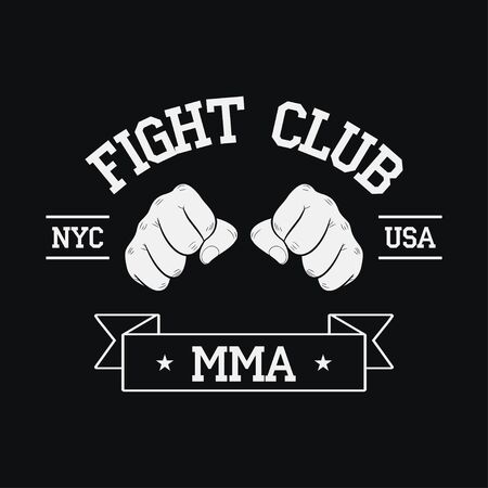 Fight Club emblem. NYC, USA. MMA, Mixed Martial Arts. Fighting typography for design clothes, t-shirts, apparel. Sport print with two fist and ribbon. Vector illustration.