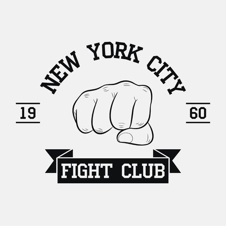 Fight Club emblem. New York city, MMA, Mixed Martial Arts. Fighting typography for design clothes, t-shirts, apparel. Sport print with fist and ribbon. Vector illustration.