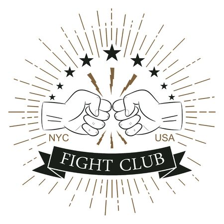 Fight club logo. Hipster style. Print for design clothes, t-shirt stamp with sunray, lightning and fist. Typography of athletic apparel. Vector illustration. Illusztráció