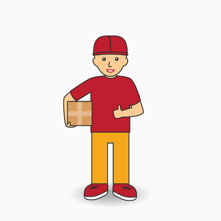 Delivery Services Worker in uniform. Courier man holding a box. Vector illustration.