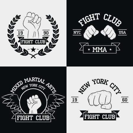 Fight Club graphics for t-shirt set. New York city, MMA, Mixed Martial Arts. Stock Illustratie