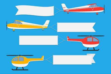 Aerei ed elicotteri volanti con striscioni. Set di nastri pubblicitari su sfondo blu. Illustrazione vettoriale. Vettoriali