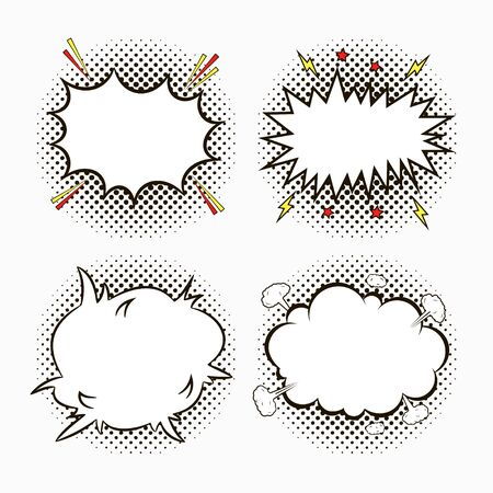 Comic speech bubbles on dots halftone background with stars and lightnings. Sketch of  empty dialog effects in pop art style. Vector illustration. Illusztráció