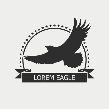 Eagle logo. Emblem template with bird, stars and ribbon. Vector illustration.