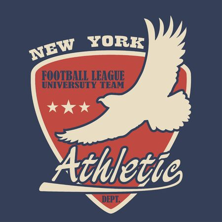 New York typography with eagle. Football t-shirts graphics. Design of University team clothes. Vector illustration. Stock Illustratie