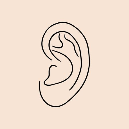 Ear human. Drawn lines icon. Vector illustration.