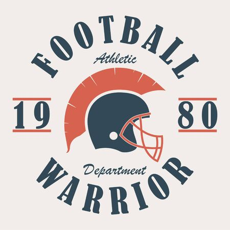 Football Warrior - t-shirt graphics with helmet. Print for sportswear, apparel, clothes. Sport logo. Vector illustration.