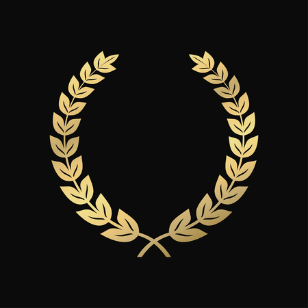 Gold laurel wreath. A symbol of victory, triumph. Vintage sign of respect. Vector illustration.