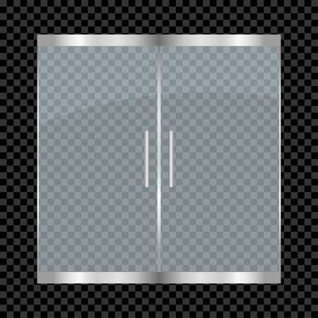 Glass door isolated on transparent background. Entry double doors for mall, office, shop, store, boutique. Vector illustration.