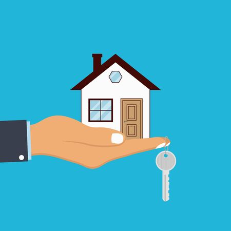 Hand palm holds house and key on finger. Concept for home agent, sale and rent of a house. Vector illustration. Illusztráció