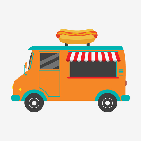 Hot dog truck. Fast food van with signboard in form of tasty hot-dog. Vector illustration in flat style. Illustration
