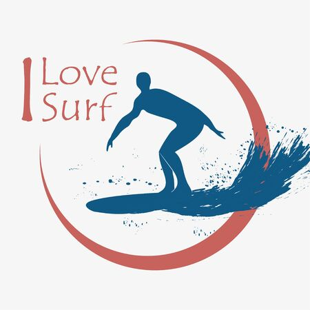 Surfing typography for design clothes, t-shirts. Surfer, surfboard, wave. Graphics for print product. Vector illustration. Illusztráció