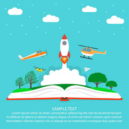 Imagination concept, reading, open book with rocket - spaceship, plane, helicopter, paper airplane drone, clouds, stars and trees. Vector illustration.
