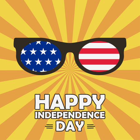 Happy Independence Day card with glasses with stars and stripes. United states of America celebrates - 4th of July. Typography design print for poster, banner. Vector illustration.