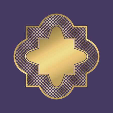 Gold geometric frame. Abstract ornamental blank banner in arabic style on violet background. Vector illustration. Illusztráció