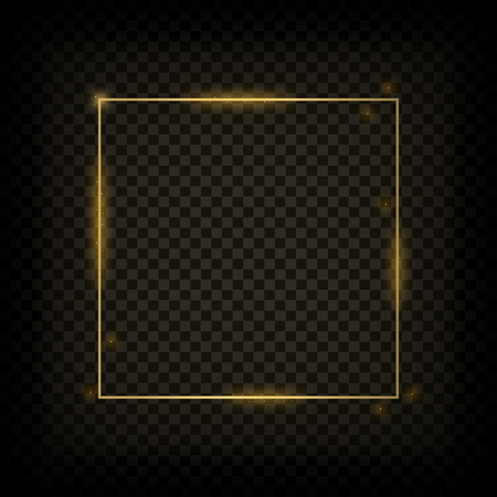 Gold glowing frame. Golden shiny square banner on transparent background. Vector illustration.