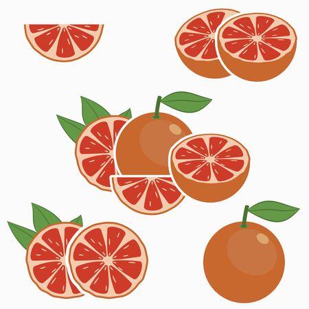 Grapefruit. Citrus fruit with leaf - whole, half, slice. Vector illustration. Stok Fotoğraf - 129415216