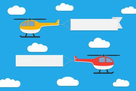 Latające helikoptery z transparentami. Zestaw taśm reklamowych na tle błękitnego nieba. Ilustracja wektorowa.