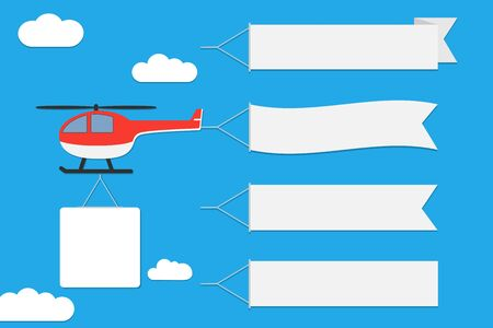 Flying helicopter with banners. Set of advertising ribbons on blue sky background. Vector. Vector Illustration