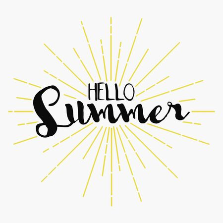 Hello Summer - lettering. Vector background for card, poster, banner, t-shirt. Design logo in vintage hipster style with sunburst.