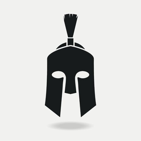 Spartan Helmet icon front. Greek or Roman head armor for Gladiator, legionnaire. Vector illustration.