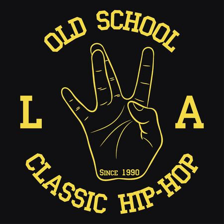 Los Angeles Hip-Hop typography for design clothes, t-shirts. Print with West Coast hand gesture. Graphic for apparel with old school rap sign. Vector illustration. Иллюстрация